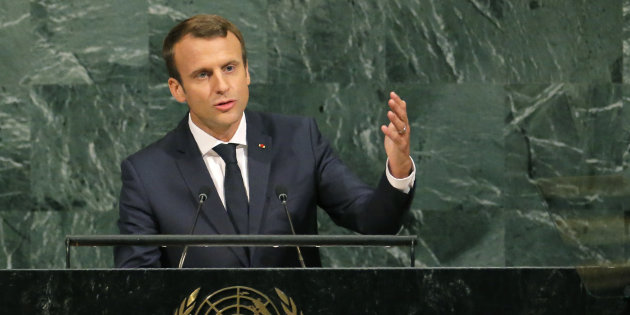French President Macron addresses the 72nd United Nations General Assembly at U.N. headquarters in New York