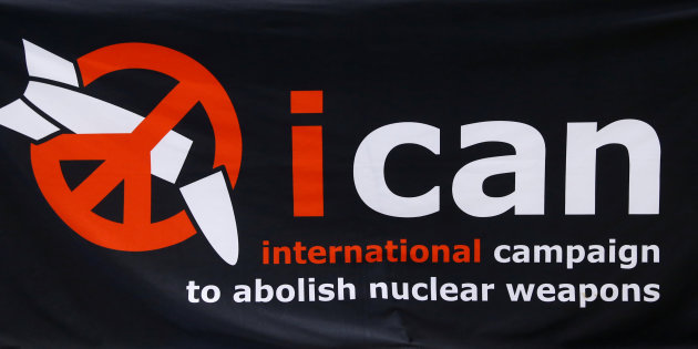 The logo of the International Campaign to Abolish Nuclear Weapons (ICAN) is seen before the news conference after ICAN won the Nobel Peace Prize 2017, in Geneva