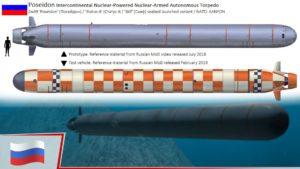 """En Russie, Poseidon est surnommé la """"torpille de l'apocalypse du tsunami"""" ou encore """"Fin du monde"""" pour son ogive multi-mégatonne qui pourrait créer des vagues déferlantes."""